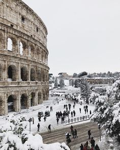 Snow at The Colosseum, Rome, Italy.