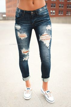"Love distressed jeans...don't really care if some ppl think I'm ""too old"" for jeans with holes in them...."