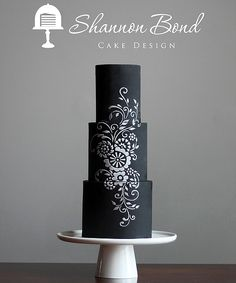 Chalkboard Stencil Cake by Shannon Bond Cake Design. www.sbcakedesign.com A timeless classic with a modern trendy twist.