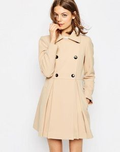 ASOS | ASOS Skater Coat in Wool Blend With Oversized Collar and ...