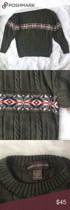 90s Ski Sweater Made in the USA, this vintage 1990s ski sweater has cable knits and Nordic snowflakes. The brand is Liberty Sweaters. In excellent vintage condition. Make me an offer. Discount on bundles of two or more. Vintage Sweaters Crewneck