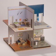 The pop-up paper house kit has everything you need to make this two story, eight room, incredibly detailed foldable house. Libro pop-up House di MakeAnythingPopUp su Etsy Items similar to Paper House - small illustrated pop-up book - scale on Etsy My pape Cardboard Dollhouse, Diy Dollhouse, Cardboard Model, Dollhouse Miniatures, Paper Doll House, Paper Houses, Cardboard Houses, Cardboard Crafts, Pop Up