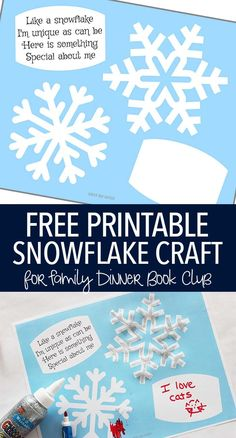 Free printable snowflake activity for kids! Decorate your own snowflakes and share what makes you unique too - just like a snowflake! A perfect craft for Family Dinner Book Club& pick of Snowflake Bentley. Winter Activities For Kids, Winter Crafts For Kids, Winter Fun, Winter Theme, Snow Theme, Winter Ideas, Book Activities, Snowflakes For Kids, Snowflake Craft