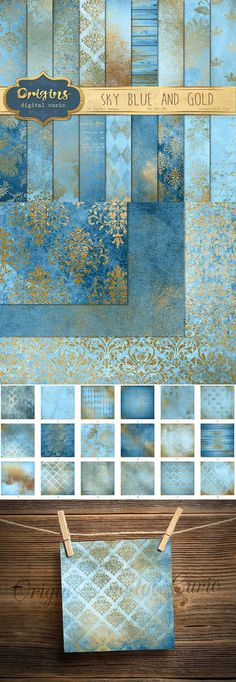 Sky Blue and Gold Digital Paper. Scrapbooking. $5.00