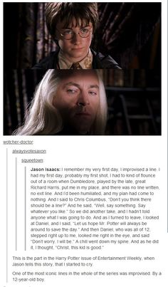 Harry Potter and the Iconic Improvised Line