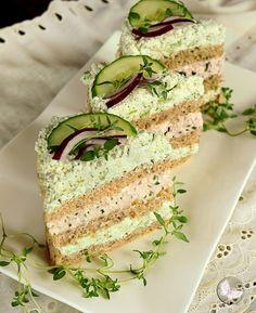 Wykwintny tort chlebowy Sandwich Cake, Sandwiches, Avocado Toast, Vanilla Cake, Buffet, Appetizers, Bread, Cooking, Breakfast