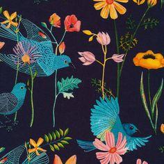 Organic Bluebird Fabric in Navy  Alegria by by CreateByTheYard, $6.25