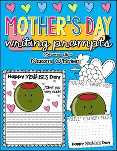 """These writing activities are perfect for Mothers Day!         Students will love the combination of writing and coloring to bring their writing prompts to life!If you want to turn it into a craft, simply have students cut their pages (the half sheet pages) out and instruct them to glue them onto a larger sheet of colorful construction paper.It is best to have students write and color before cutting and gluing.""""Olive"""" you very much!You are a """"grape"""" mom/mum!I """"donut"""" what I'd do without…"""