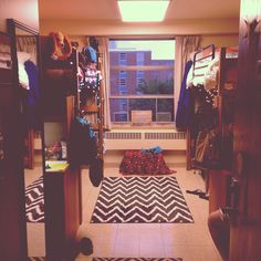 Typical dorm room layout - carpet is a key addition! Purdue Dorm!