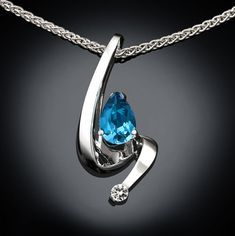 "LONDON BLUE TOPAZ papillon collier pendentif argent sterling 18/"" Natural Swiss"