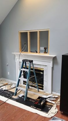 *before* Closing in the cut-out above fireplace