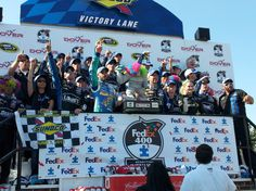.@JimmieJohnson and @LowesRacing team in Victory Lane @MonsterMile!