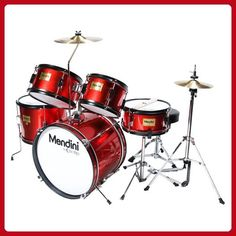 Mendini by Cecilio 16 inch 5-Piece Complete Kids / Junior Drum Set with Adjustable Throne, Cymbal, Pedal & Drumsticks, Metallic Bright Red, MJDS-5-BR - Fun stuff and gift ideas (*Amazon Partner-Link)