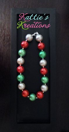 Child, Toddler, Girls Chunky Beaded Necklace - Christmas Pearls. $18.00, via Etsy.
