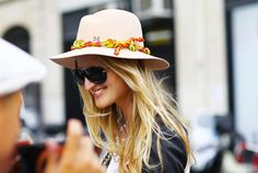 """Kind of like this breezy combo, of course my hair is nothing like that... """"Street Style: Big funky crazy hats adorned the fall runway but you don't need to go that crazy. Add a funky ribbon or scarf to your favorite floppy hat!"""""""