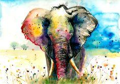 XXL Original Watercolor Painting - The Elephant from AquaGest by DaWanda.com