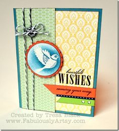Tresa Black-Chantilly paper, features white embossing sponged in twilight blue ink