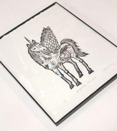 Pegasus Unicorn Framed Print by monster in the closet on etsy. $16.00, via Etsy.