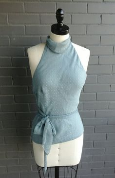 CHRISTIAN DIOR HALTER top size 8 periwinkle silk by 1505vintage