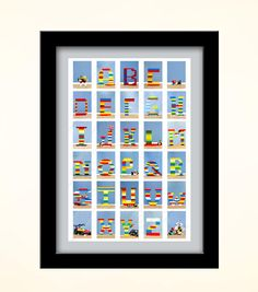 ABC Lego's this would be a cute idea to hang in a little boy or girls room who loves legos