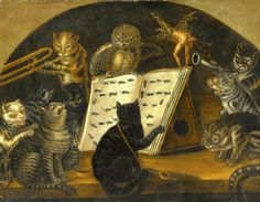 Lombard School. Cats being instructed In the art of mouse-catching by an owl, ca. 1700. Oil on canvas, within a painted lunette.