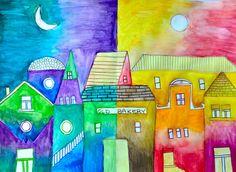 Piccolo borgo a colori caldi e freddi