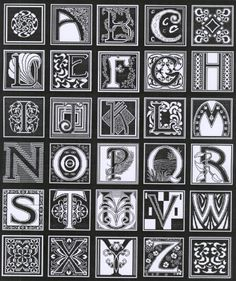 Black & White by Dessins DHC. Alphabet Charts, Cross Stitch Alphabet, Cross Stitch Samplers, Alphabet And Numbers, Cross Stitching, Cross Stitch Designs, Cross Stitch Patterns, Doodle Fonts, Cross Stitch Boards