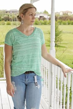 Papermoon Morena V-Neck Tee The color and detail make it more interesting than normal T-shirt