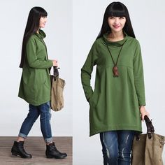 Casual A Shaped Long Sleeved Pile Collar Cotton by deboy2000