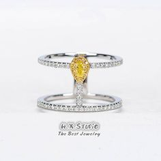 18k Diamond Double Ring, Diamond Parallel Bar Ring, Fancy Yellow Diamond Gold Ring, Twin Gold Engagement Ring, Intense Yellow Diamond Ring