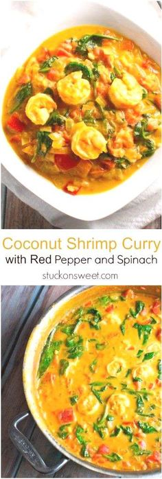 Coconut Shrimp Curry with Red Pepper and Spinach - Stuck On SweetYou can find Curry shrimp and more on our website.Coconut Shrimp Curry with Red Pepper and Spinach. Red Curry Shrimp, Coconut Curry Shrimp, Coconut Shrimp Recipes, Grilled Shrimp Recipes, Spinach Recipes, Seafood Recipes, Indian Food Recipes, Cooking Recipes, Indian Shrimp Curry