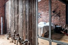 This beautiful duplex loft with industrial interior style is decorated by Anna Pliss in Moscow, Russia. Loft is situated in the former textile factory Rustic Industrial Bedroom, Industrial Interior Design, Industrial Interiors, Home Interior Design, Bedroom Rustic, Industrial Loft, Interior Ideas, Shabby Chic Bedroom Furniture, Apartment Bedroom Decor