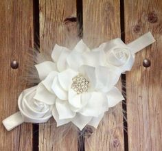 White headband feather headband baptism headband by Heavenandhalos