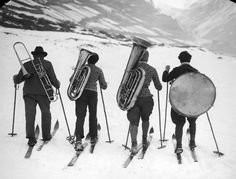 Off-piste: a hilarious history of skiwear – in pictures 1945...an intrepid Alpine Quartet head to their next gig.