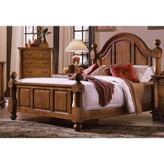 "Country Styling with attention to detail creates a beautiful bedroom group that will enhance any room décor. Each case is accented with pilaster turnings and turned bun feet. Solid Pine 5"" posts are turned to complete the bed."