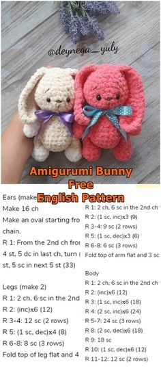 Amigurumi Soft Bunny Free Crochet Pattern – Amigurumi Crochet – Crochet Pattern and ideas Crochet Rabbit Free Pattern, Easter Crochet Patterns, Crochet Amigurumi Free Patterns, Crochet Doll Pattern, Crochet Crafts, Crochet Toys, Crochet Projects, Free Crochet, Crochet Teddy