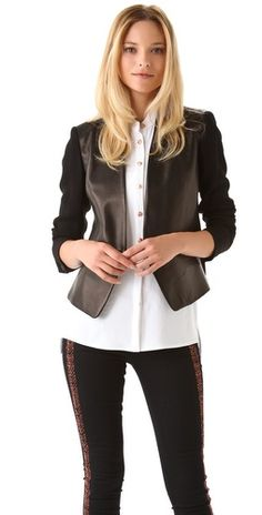 Rag & Bone Pascal Jacket-leather blazer, diy inspiration=leather vest + cashmere sweater sleeves