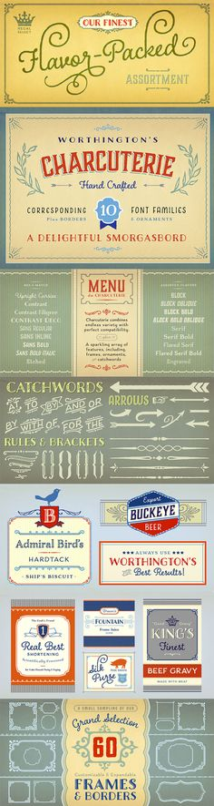 Charcuterie font family - extraordinary collection of distinct mix-and-match typefaces, ornaments and frames by Laura Worthington