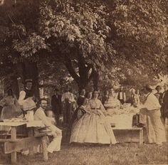 This period photo of a church picnic dates from about 1862.