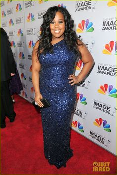 Amber Riley sparkles in a Theia dress at the 2012 NAACP Image Awards on Friday (February 17) at the Shrine Auditorium in Los Angeles.