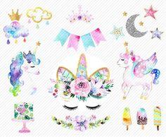 watercolor Unicorn Clipart. Unicorn Printable. Baby Shower