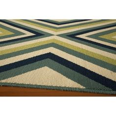 Indoor/Outdoor Navy Geometric Rug, Blue/Yellow/White #GeometricRugs