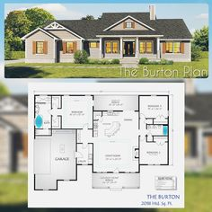 This beautiful 3 bedroom, 2 bath plan has a nice corner kitchen open to the grea. - House Plans, Home Plan Designs, Floor Plans and Blueprints Ranch House Plans, New House Plans, Dream House Plans, Small House Plans, Dream Houses, Ranch Floor Plans, Rambler House Plans, One Level House Plans, Craftsman Style House Plans