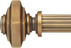Everette Finial - Paris of Texas Custom Wood Curtain Rods : square finial, rod and all brackets included as a set : finish color range from white to black and many colors in between (silver gray, antique gold, bronze) | Best Window Treatments