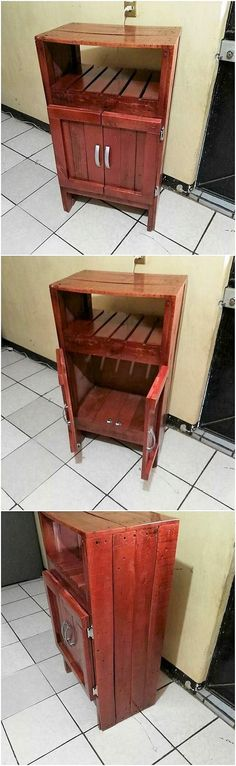 Have a look at this outstanding wood pallet storage cabinet design! It might appear as cabinet in shape from outer side, but from inner side it is finishing with the flourishing small boxes as used for storage. It is much designed in simple way to make it look mesmerizing for others.