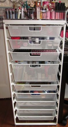 Makeup Organization Tower? I like the idea of having something like this and then simply labeling our own portions inside! Keeps it all in one area, at least!