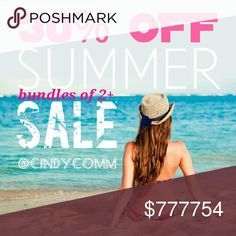 >>> SALE! 30% OFF BUNDLES OF 2 OR MORE <<< Time to empty my closet and make room for more! ALL items in my closet are included in this sale. I strive very hard to maintain a 5 Star rating, so if you have any questions about my items, please be sure to ask prior to purchase. Sale ends July 31. Other