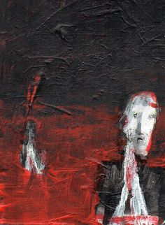 """""""PRAYERS IN HELL #35""""  Acrylic original  ,ACEO  jack larson 3.5""""x2.5"""" #Abstract"""