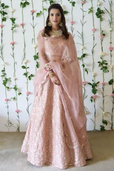 From our Bridal Heritage Collection, this is a Pressed Rose pure silk lehenga outfit adorned with rose gold gota patti, zardozi and pearl bead hand embroidery. Gold Lehenga Bridal, Pink Lehenga, Gota Patti Lehenga, Beautiful Dresses, Nice Dresses, Bridal Lehenga Collection, Couture Collection, Gold Skirt, Lehenga Style