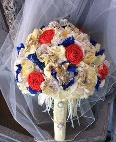 Beauty and The Beast Wedding Bridal Bouquet-Bride's Bouquet-Brooch Bouquet/Extra…